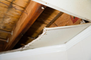 Water damage can cause your ceiling to become loose and dangerous
