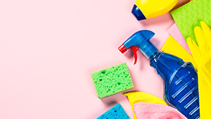 Cleaning products used to clean up mold with vinegar and baking soda
